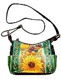 Niarvi Rising Blumen-Leder- Handgemalte Handbag