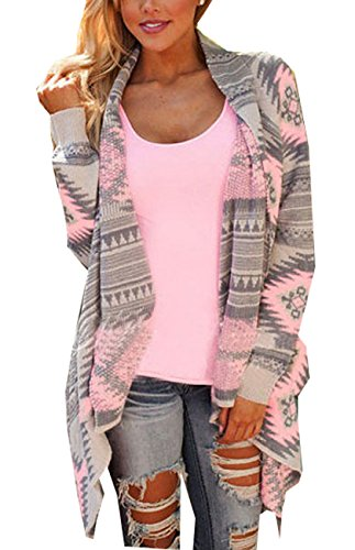 Women Geometric Printed Long Sleeve Asymmetric Cardigan Sweater Outwear Pink XL