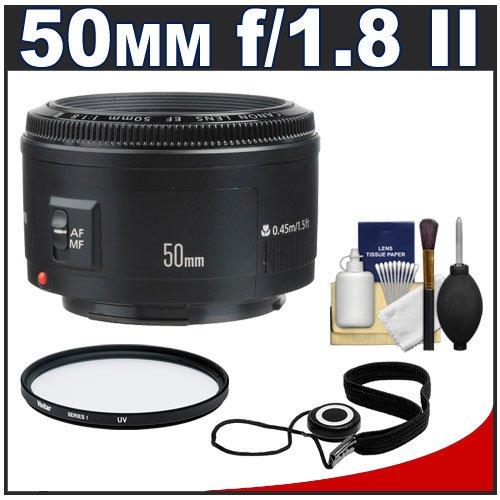 Canon EF 50mm f/1 8 II Lens + UV Filter + Accessory Kit for