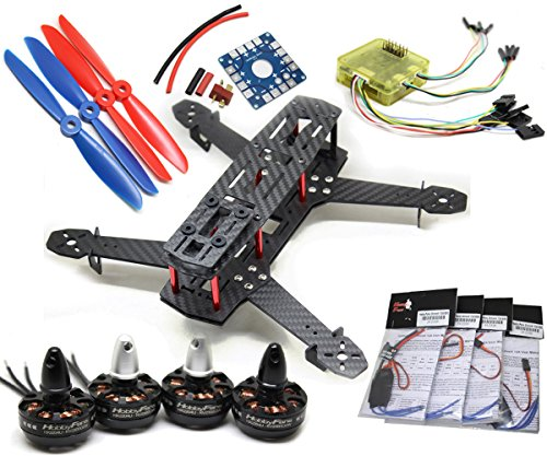 New HobbyFans CC3D QAV250 DIY Drones FPV Carbon Glass 6 x 4.5 Propeller SimonK 12A ESC