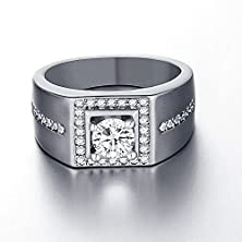 buy Geminis Gentleman Square Silver Plated Cubic Zirconia Wide Band Rings-Ring Size 10