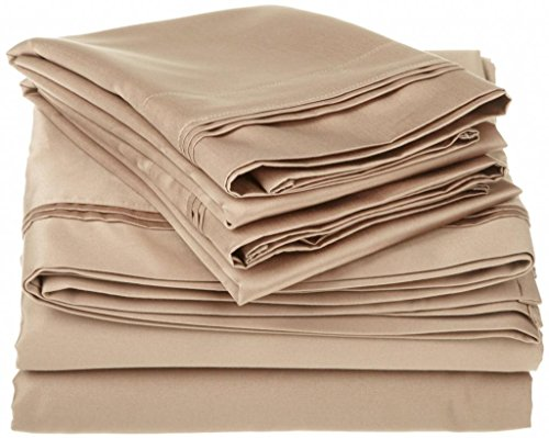 "650 Tc Egyptian Cotton Bed Sheets For Camper'S, Rv'S, Bunks & Travel Trailers 4 Piece Set 6"" Deep Pocket Rv King (72X80"") Taupe Solid back-15175"