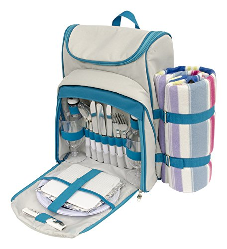 Buy Discount Useful UH-PB173 Picnic Backpack for 2 with Blanket, Plates, and Cutlery Set