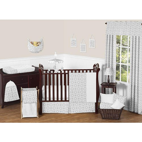 Sweet Jojo Designs Diamond Gray and White Collection - 11 Piece Baby Crib Bedding Set - 1