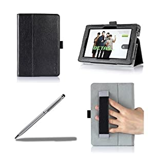 ProCase All New Kindle Fire HD 7 Case with bonus stylus pen - Flip Stand Leather Folio Cover for All New Kindle Fire HD 7 inch Tablet (will only fit New Kindle Fire HD 7 2013 released, 2nd Gen HD 7) (Black)