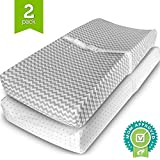 Changing Pad Cover Set - 2 Pack - Soft Jersey Cotton Changing Pad Fitted Sheet Set, Grey Chevron & Polka Dot by Ziggy Baby - Best Baby Shower Gift Sets for Boys, Girls, Unisex