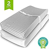 Changing Pad Cover Set – 2 Pack – Soft Jersey Cotton Changing Pad Fitted Sheet Set, Grey Chevron & Polka Dot by Ziggy Baby – Best Baby Shower Gift Sets for Boys, Girls, Unisex