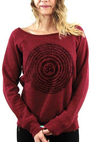 Felpa da donna, stampa etnica/Spiral Ohm rosso rosso