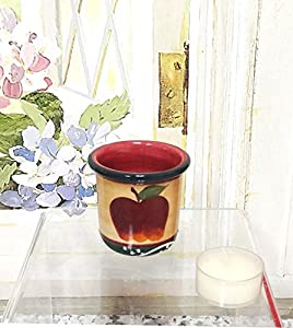 "Tuscan Country Apple, Hand Painted Collection, Set of 4 Votive Candle Holders 2-1/2""H, 84108 By ACK"