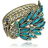 Golden Blue Beads Crystal Rhinestone Gems Side Profile Peacock Bracelet Bangle