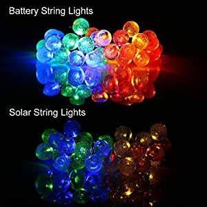 [Battery Included]Rechargeable Battery Operated String Lights with Timer, easyDecor 8Mode 30 LED 21ft Multi-color Waterproof Decorative Christmas Fairy Globe for Indoor,Outdoor,Bedroom,Party,Tree