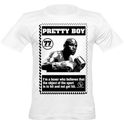Urban Shaolin mens Boxing Floyd Mayweather Pretty Boy Inspired Crew Neck Fitted T Shirt, Small, White (Floyd Mayweather Boxing Tickets compare prices)