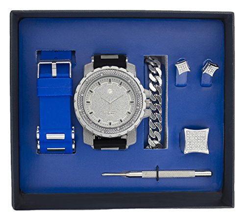 Techno Pave Iced Out Watch + Interchangeable Band + Cuban Bracelet + Iced out Earrings & Ring [Gift Set] (Watch Techno Watch compare prices)