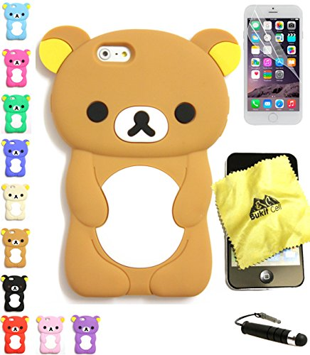 Bukit Cell Bundle: Brown 3D Teddy Bear Soft Silicone Case for 4.7 Inch Iphone 6s / Iphone 6 [ NOT for Iphone 6 plus ], Cleaning Cloth , Screen Protector , Metallic Stylus Touch Pen (Iphone 6 Case Bear compare prices)
