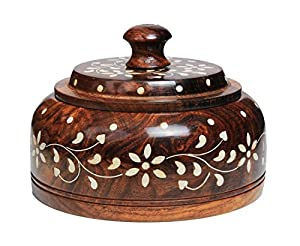 Ethnic Christmas Gifts Rosewood Masala Spice Storage Box Handmade with 4 Compartments, Kitchen Accessories