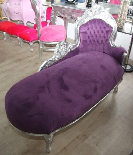 Barock Chaiselongue 'King' Lila/Silber