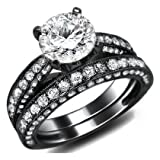2.62ct Natural Round Diamond Engagement Ring Wedding Set 18k Black Gold With a 0.72ct Center White Diamond and 1.90ct of Surrounding Diamonds