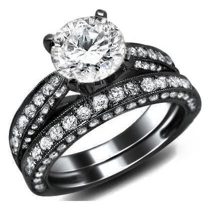 2.62Ct Natural Round Diamond Engagement Ring Wedding Set 18K Black Gold Rhodium Plating Over White Gold With A 0.72Ct Center White Diamond And 1.90Ct Of Surrounding Diamonds