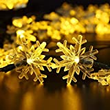 Kingdoo Solar String Light 20ft 30 LED Snowflake Flowers Solar Lights Outdoor String Fairy Waterproof Lights Garden Decorations Christmas Lights for room, Patio, Home, Party,Yard (Warm White)
