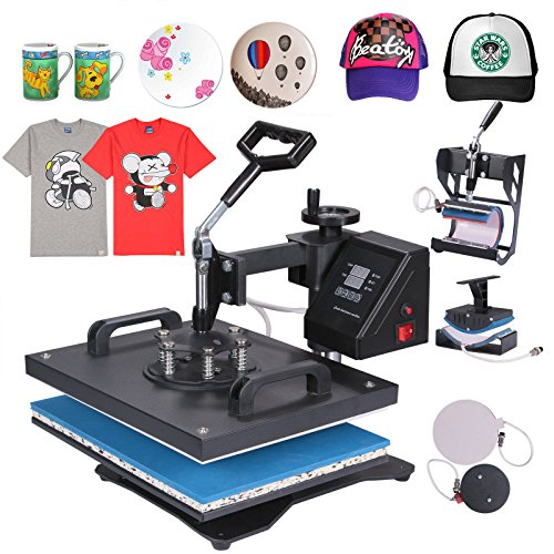 Mophorn Heat Press 5 in 1 Multifunction Sublimation Heat Press Machine Desktop Iron Baseball Hat Press 1400W Digital Swing Away Transfer T Shirt Hat Mug (5IN1) (Heat Transfer Press Hat compare prices)