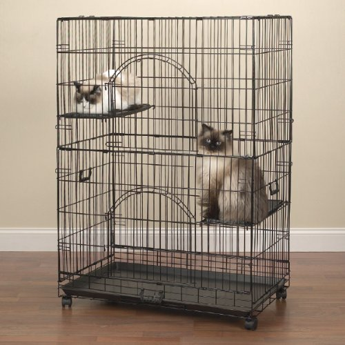 ProSelect Easy Cat Cage, Economical and Customizable, Durable  Wire and Plastic – Black 351/2″L x 221/4″W x 48″H