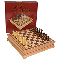 Helen Chess Inlaid Wood Board Game with Weighted Wooden Pieces - 15 Inch Set by Best Chess Set
