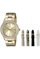 GUESS Women's U0713L2  Luxurious Gold-Tone Watch Set with Metal Band and 4 Interchangeable Straps Inside a Bonus Jewelry Box