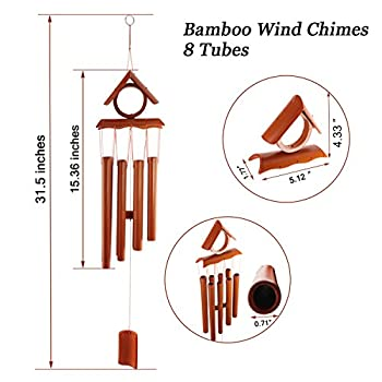 UPmagic Wind Chimes,Wooden Melody Bamboo Wind Bell, Large Brown Bamboo Amazing Grace Wind Chimes for Garden Outdoor Indoor Home Front Door Decor with Beautiful Sound