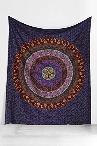 Hippie Tapestry, Hippy Mandala Bohemian Tapestries, Indian Dorm Decor, Psychedelic Tapestry Wall Hanging Ethnic Decorative