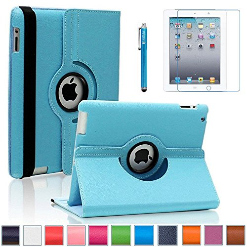 iPad 2/3/4 Case, AiSMei 360 Degree Rotating Stand Case Cover with Wake Up/Sleep Function For Apple iPad 2,the New iPad,iPad 4 [the 2nd,3rd,4th Gen 9.7-Inch iPad] [Case+Film+Stylus] -Light Blue (Ipad Blue Case compare prices)