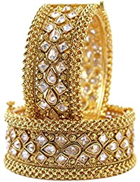Beautiful Antique Design Gold Plated Crystal Stone Added Charming Kada Bangle For Women's Jewelry