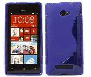 iTALKonline HTC Windows Phone 8X Slim Grip S-Line TPU Gel Case Soft Skin Cover - Blue