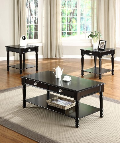Image of COFFE END OCCASIONAL TABLE LUCAS BLACK FINISH 3 PIECE SET (B008W1GH3I)