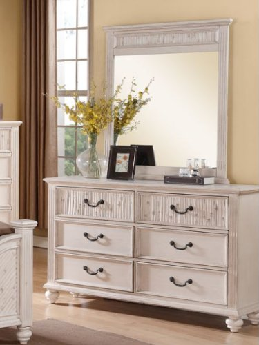 Modern Off-White Finish Dresser With Mirror By Poundex front-236325