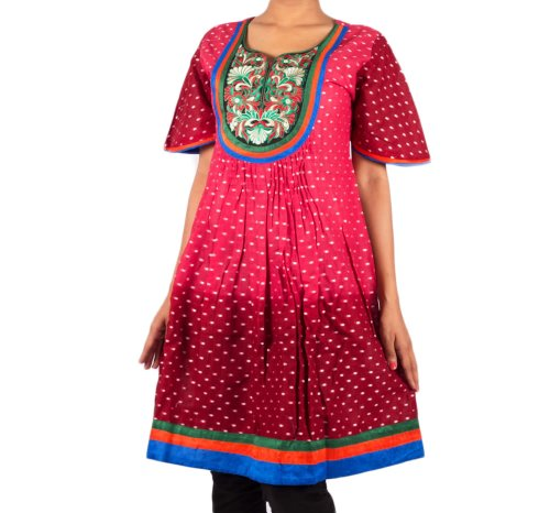 Mruga Womens Cotton Maroon 38 Kurta (multicolor)