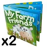 2 x Baby Bath Books Bath Time Floating Toy Farm Friends