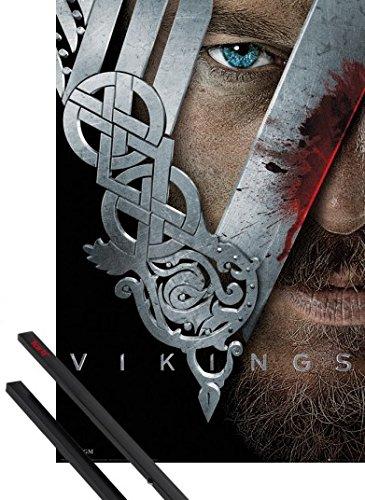 Poster + Sospensione : Vikings Poster Stampa (91x61 cm) Guerriero e Coppia di barre porta poster nere 1art1®