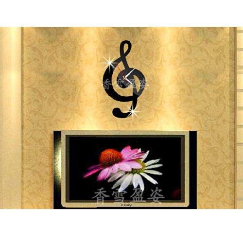 Dupin Llc (Tm) Fashion Music Musical Note Wall Clock Mirror Modern Design Removable Diy Acrylic 3D Home Decal Wall Sticker Decoration (Black)