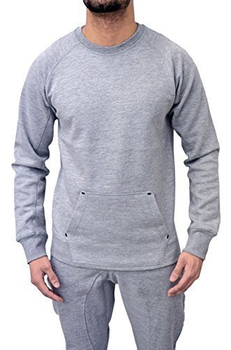 Genetic Apparel -  Tuta da ginnastica  - Maniche lunghe  - Uomo Top Grey Large
