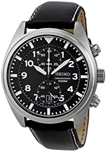Gents Stainless Steel Seiko Chronograph Quartz/Battery Watch on Black Leather Strap Date.