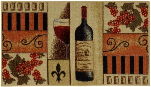 Anti-Bacterial Rubber Back Home and KITCHEN RUGS Non-Skid/Slip 3x5 | French Wine Glass | Decorative Kitchen Rug Runner Door Mats Low Profile Modern Thin Indoor Floor Area Rugs for Kitchen (Grapes Rug compare prices)