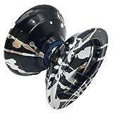 Yowanted Black Silver Aluminum Alloy Metal Bearing High Speed Professional Yo-Yo Toys Unresponsive YoYo Ball - 3 Strings 1 YoYo Glove