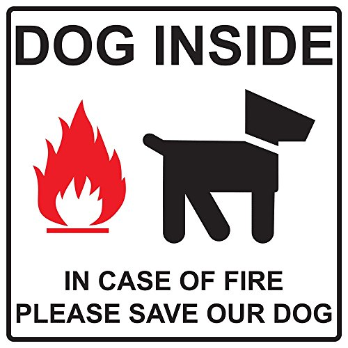 ComplianceSigns Vinyl Dog Inside In Case Of Fire Please Save Our Dog Label, 6 x 6 in. with English, White (Dog Tag Display Case compare prices)