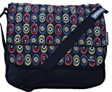 Large or A4 Size Courier or sling style messenger bag black with colourful pattern travel cabin or hand luggage school