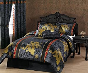 Chezmoi Collection 7-Piece Palace Dragon Jacquard Comforter Set, Full/Double, Black/Gold/Red
