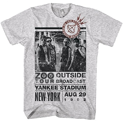 Official-U2-Zoo-Fuori da uomo grigio t shirt Grey Marl L