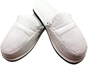 BNC Cordury House Slippers Backless Slip-ons with Cushion White