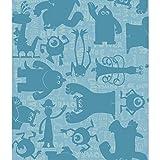 York Wallcoverings DS7753 Walt Disney Kids II Graphic Monsters Wallpaper, Aqua/Teal
