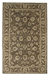 Area Rug, Dark Olive/Ivory Traditional Bordered Soft Wool Carpet, 2-Foot 2-Inch X 8-Foot