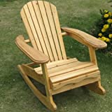 Trueshopping Children's Garden / Patio / Kitchen / Play Room 'Little Bowland' Adirondack Rocking Chair In Natural Wood